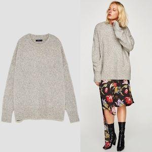 ZARA Oversized Heather Grey Boyfriend Sweater